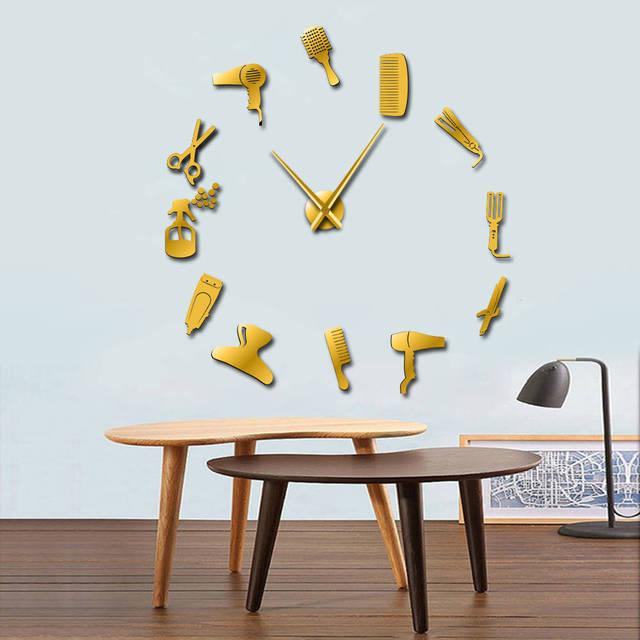 DIY, reloj gigante de pared para barbería, con efecto espejo, kits de herramientas para peluquero, reloj decorativo sin marco, reloj, peluquería, arte de pared para peluquero