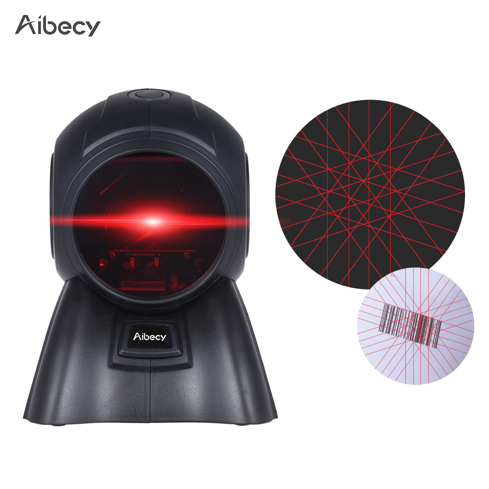 Aibecy Omni-directional 20 Lines 1D USB Orbit Barcode Scanner Reader Auto Scanning 1800t/s Speed 30DE Adjustable Head for stores