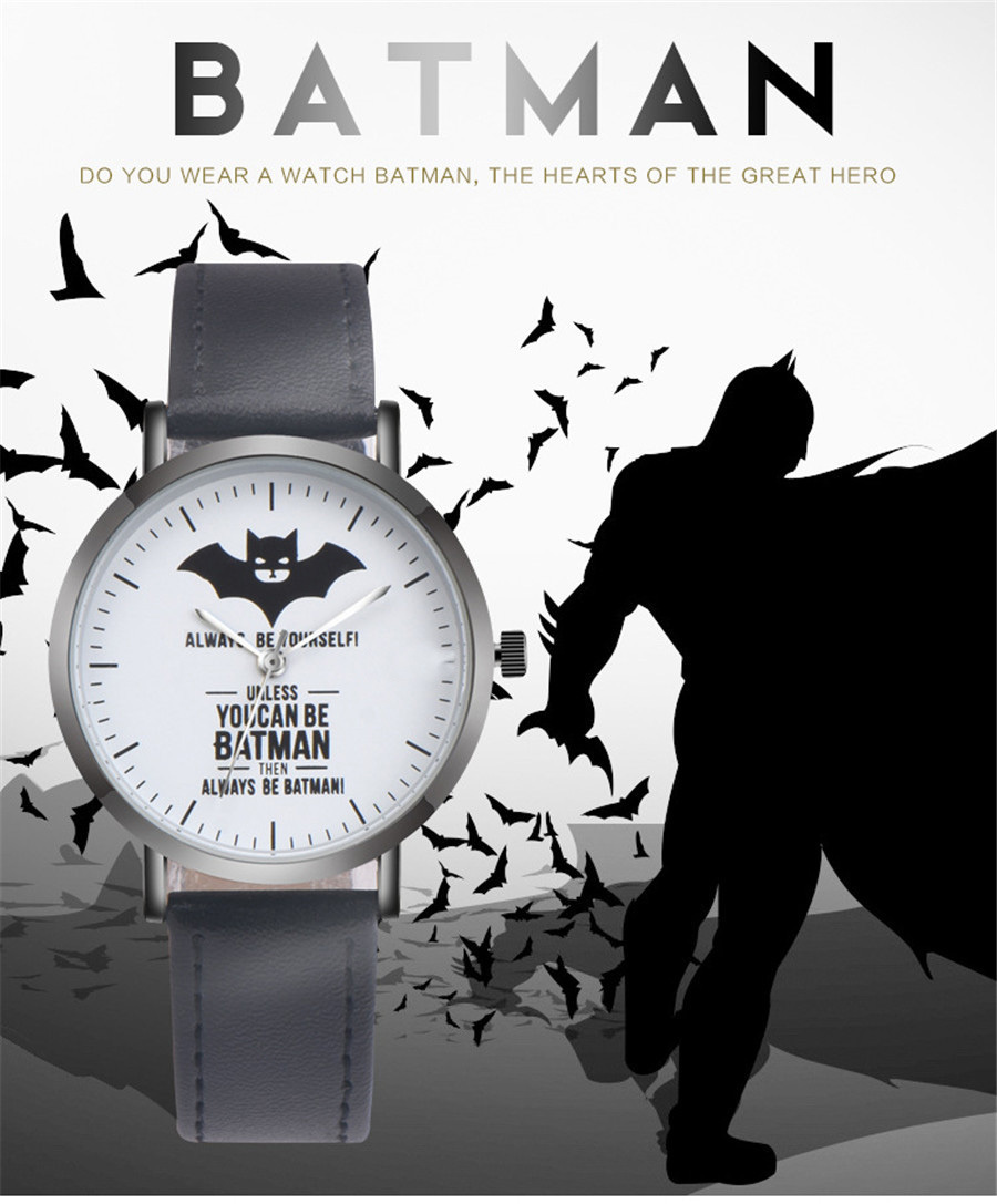 Batman Pattern Watch Vansvar Brand Hot Sell Casual Unisex Wristwatch PU Leather Quartz Watches Relogio Feminino Drop Shipping ti bluetooth 4 0 ble mini development kit cc2540dk mini cc2541dk mini official tutorial