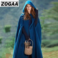 ZOGAA Winter Women Cloak High Quality Designer Female Vintage Thick Hooded Floor Length Medieval Long Cape with Hoods Overcoat
