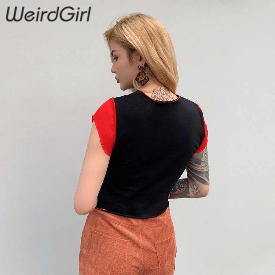 Bizarre femmes t-shirt fraise mignon manches courtes mode femme hauts rouge rose patchwork streetwear été cool nouveau 2019