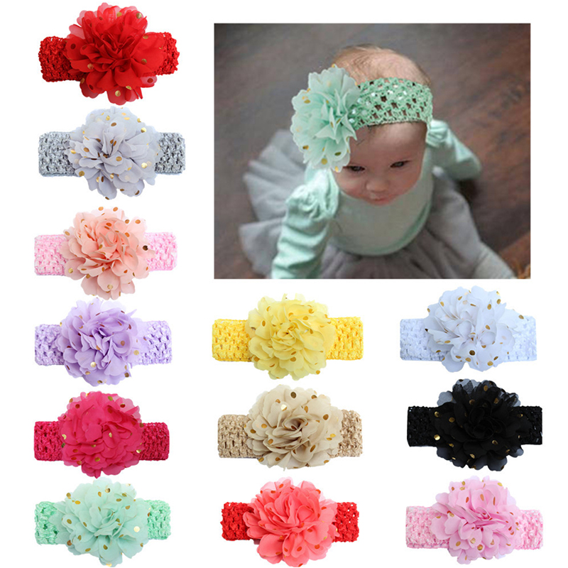 New Sequins Large Flowers Elasticity Wide Baby Headband 12 Colors Hair Accessories Children's Hot Stamping Chiffon Hair Band