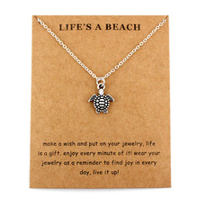 Sea Turtle Tortoise Necklaces Ocean Waves Beach Conch Shell Pendants Women Men Unisex Trendy Jewelry Lover #8217 s Christmas Gift cheap CUSTOMAMA Zinc Alloy Pendant Necklaces Link Chain Metal Animal All Compatible Anniversary Mood Tracker As picture Fashion