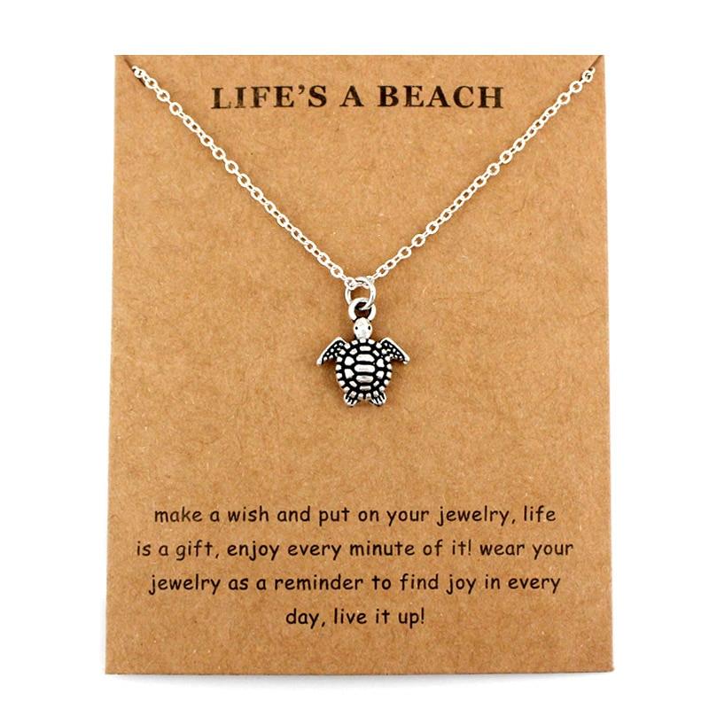 Sea Turtle Tortoise Necklaces Ocean Waves Beach Conch Shell Pendants Women Men Unisex Trendy Jewelry Lover's Christmas Gift