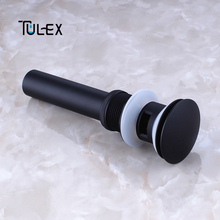 TULEX Black Pop Up Drain for Bathroom Vanity Basin Drain Sink Drain Brass Body With Overflow Accessories for Bathroom shivers drain retro antique brass push down pop up drain no overflow 5712 floor drain bathroom kitchen basin sink bath drain
