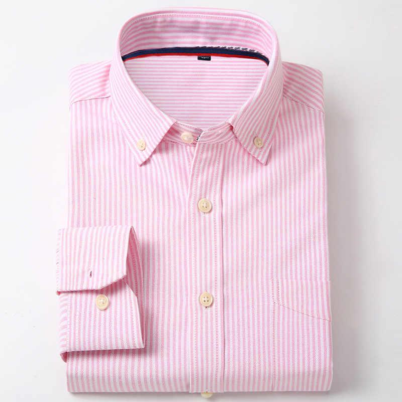 Oxford de los hombres de algodón de corte Slim Casual Botón-camisas de manga larga de cuadros de trabajo de oficina vestido de camisa Vintage