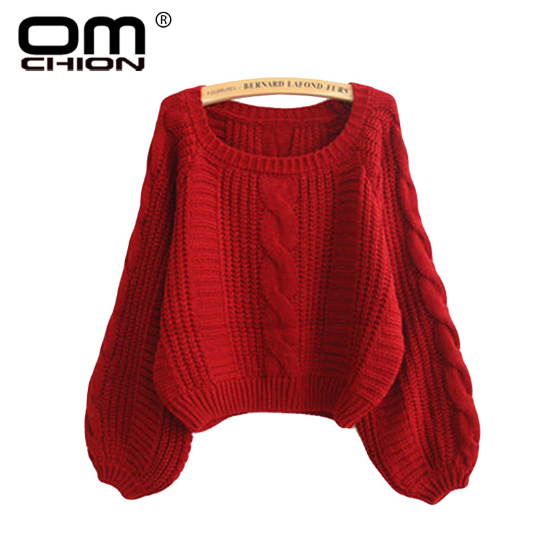 OMCHION Pull Femme Winter 2017 Autumn O Neck Oversized Knitted Sweater Women Long Sleeve Solid Twist