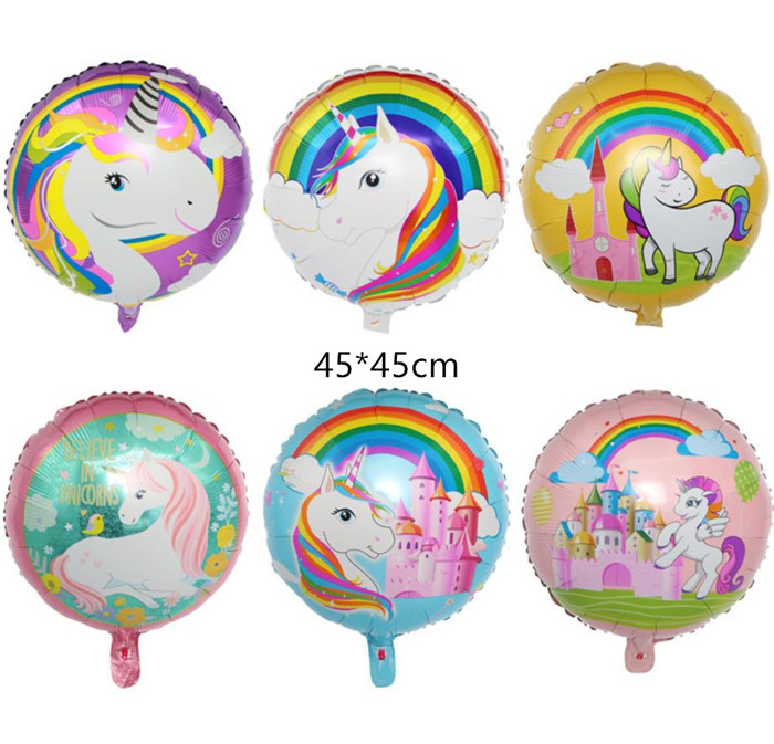 Cartoon Hat Unicorn Balloons 18 Inch Star Round Balloon Birthday Party Decor Kids Rainbow Balloons Unicorn Party Supplies