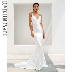 Длинное платье Love & Lemonade белого цвета с глубоким v-образным вырезом и открытой спиной LM1096