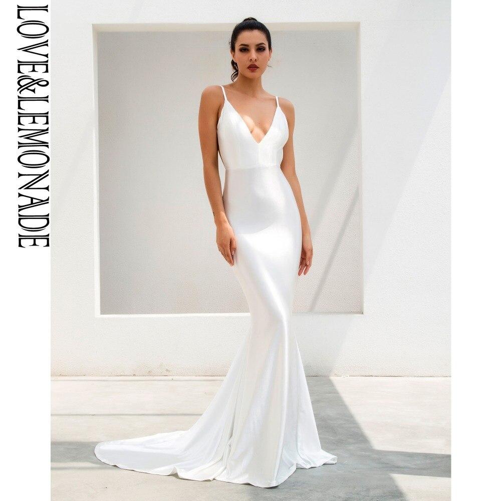 Love&Lemonade  White Deep V-Neck Open Back Slim Flash Material Long Dress  LM1096