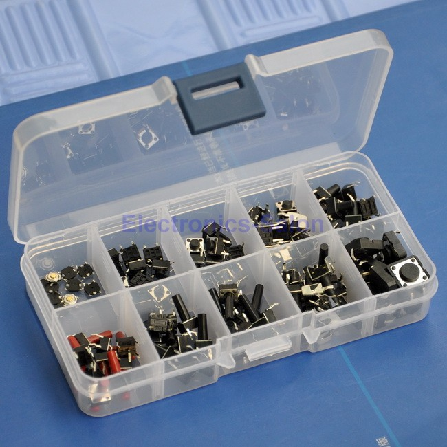 Momentary Tactile Button Switch Assortment Kit. 10 Types, Each 10PCS