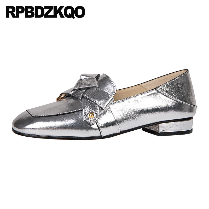 metal british style women flats shoes with little cute bowtie silver bow patent leather loafers big metallic genuine square toemetal british style women flats shoes with little cute bowtie silver bow patent leather loafers big metallic genuine square toe