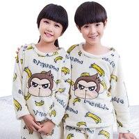 New Style Girls Kid Flannel Pajama Suits Winter Cute Children's Sleepwear Sets Home Leisure Girl/Boy Cartoon Long Sleeve Pyjamas