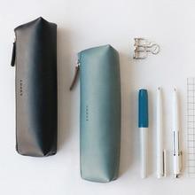 лучшая цена Handmade Genuine Leather Pencil Case Triangle Zipper Pencilcase Pen Bag Retro Stationery Bag for Gifts Office School Supplies