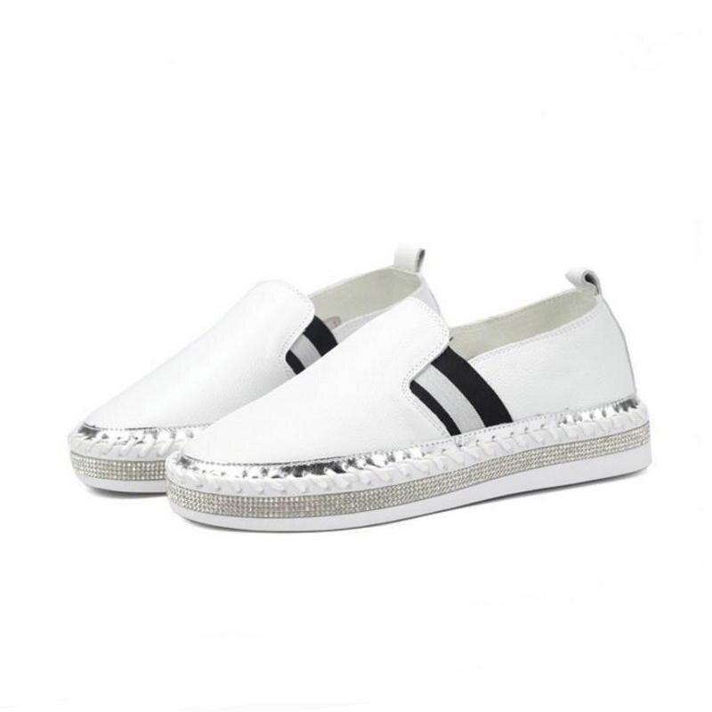 White Plates White Mocassins Appartements White En Nouveau Femmes 2018 Perle Strass Chaussures Véritable 3 1 Cristal Cuir Espadrille White Marque 6 2 Souple Cheville Y0Y1qTw