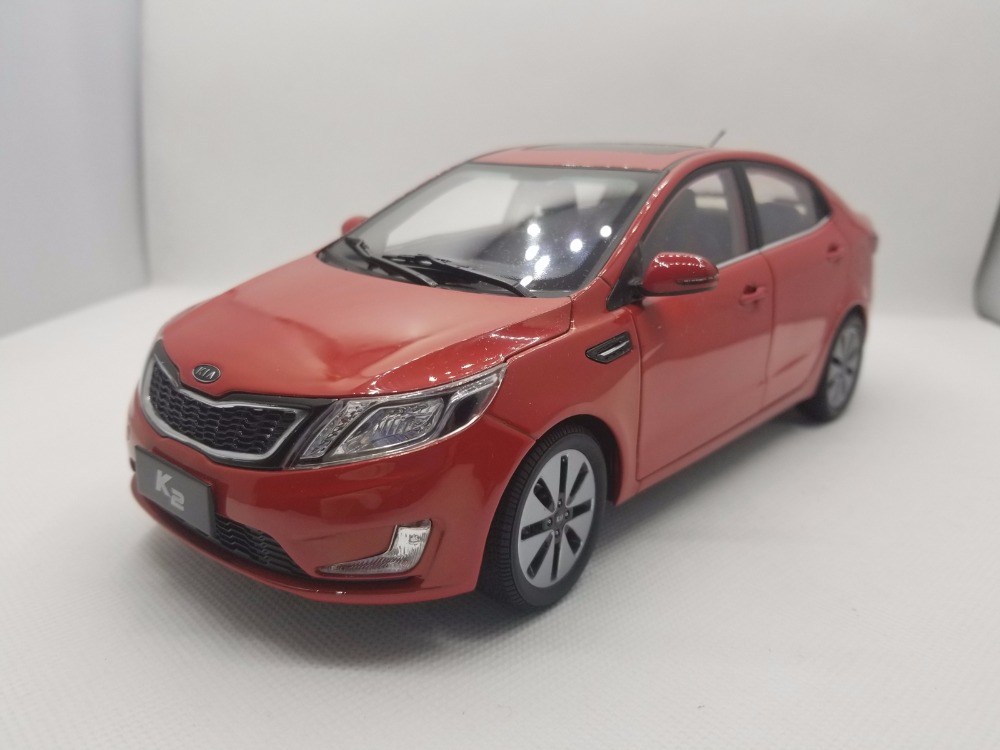 1:18 Diecast Model For Kia K2 Rio 2011 Red Alloy Toy Car Miniature Collection Gifts