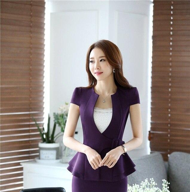 73d0d4fb727 Spring Summer Fashion Female Purple Blazers Women Outerwear Jackets Elegant Ladies  Work Wear Office Uniform Styles