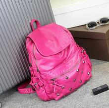 Newhotstacy мешок 110316 женщины горячие заклепки новый geniune кожа рюкзак