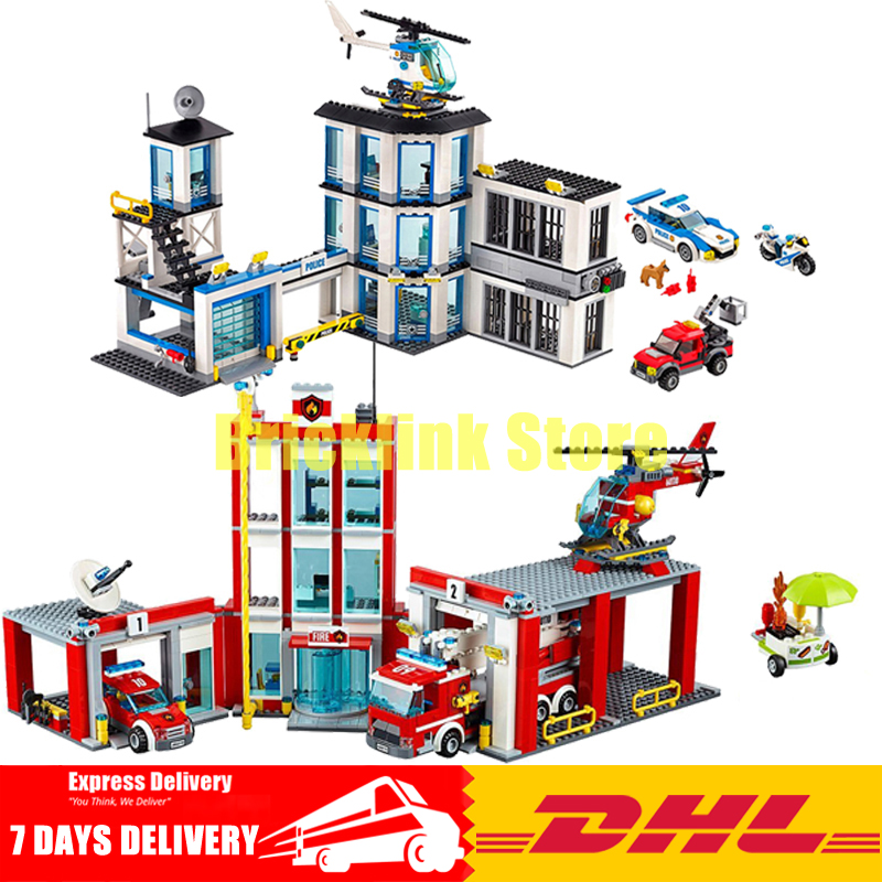 DHL Lepin City Series 02020 New Police Station+ 02052 Fire Station Clone 60141 60110 Building Blocks Bricks Model Toys lepin 02020 965pcs city series the new police station set children educational building blocks bricks toys model for gift 60141