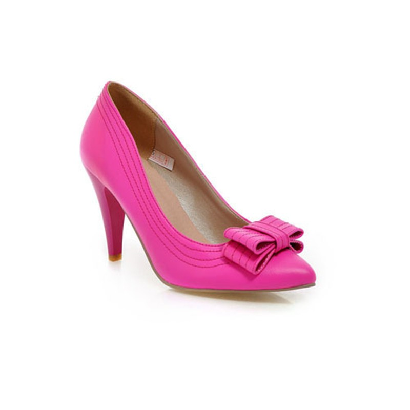 ENMAYER-New-size-34-43-fashion-Sexy-Yellow-Pink-peach-Bowtie-Thin-Heels-High-shoes-Pointed