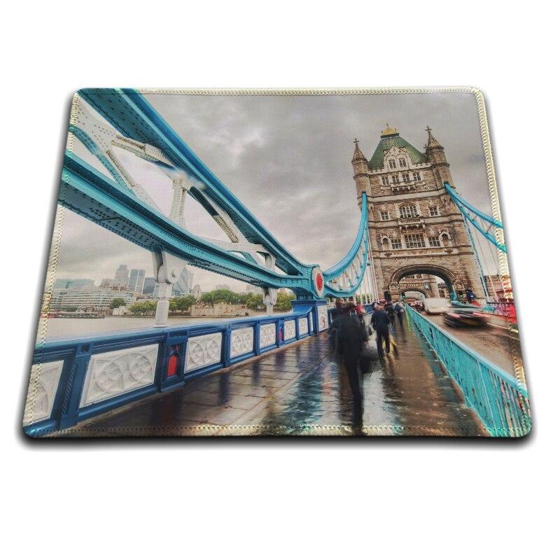 MaiYaCa London Tower Bridge Juego fresco Ratones personalizados Alfombrilla de goma 18 * 22 cm y 25 * 29 cm 20 cm * 25 cm * 0.2 cm Alfombrilla de ratón Overlock