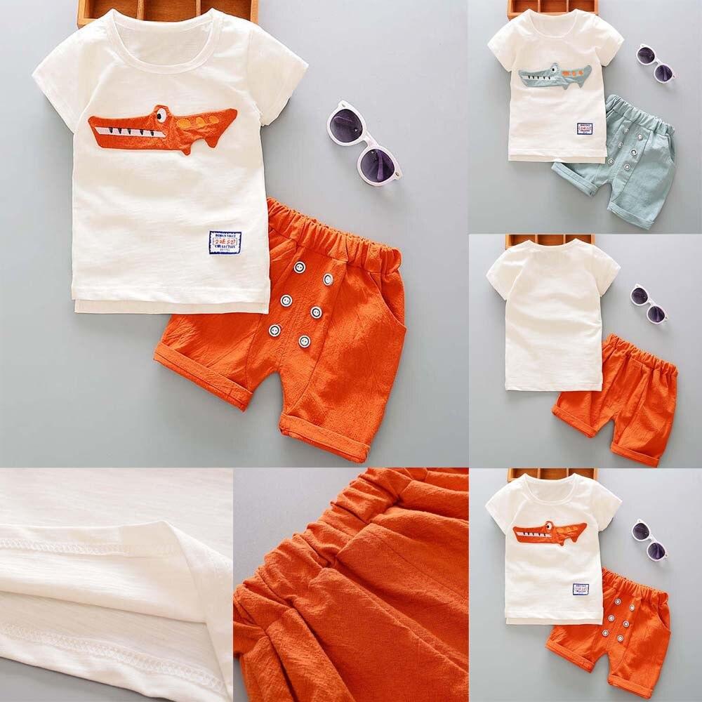Cute O-neck Boy T-shirt Toddler Kid Baby Boy Outfits Clothes Cartoon Print T-shirt Tops+Shorts Pants Set Baby Boys Clothing Set(China)
