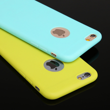 Case For iPhone 6 6S 6/6S 7 Plus 5 5S SE Candy Colors Soft TPU Silicon Phone Cases For iPhone 6 7 Plus Coque With Logo Window