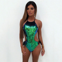 Green Sequins 1 Pieces Swimsuits Beach Suits Sexy Cross Bandage Bathing Suits Glitter Sequins High Cut