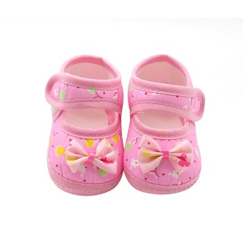 Summer Baby Girl Cloth Soft Sole Shoes Prioncess First Walkers Round Dot Prewalker Shoes Bowknot Shoes new Baby's First Walkers