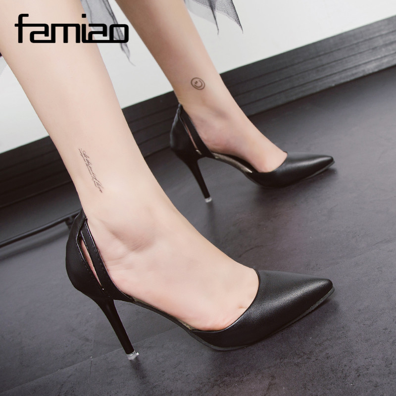 FAMIAO women blue pumps 2018 black pink elegant party pumps pointed toe slip on shoes women ladies wedding shoes Patent leather sequined cloth women pumps super high heel sexy shoes pointed toe wedding shoes women pumps slip on elegant party wedding pumps
