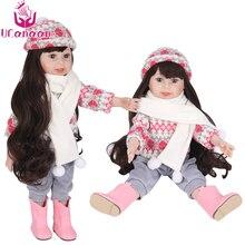 בנות בובות Reborn 18 /45CM סיליקון תינוק צעצועי עבור בנות תינוק Reborn ארוך שיער נסיכת בובת Chirstmas מתנה
