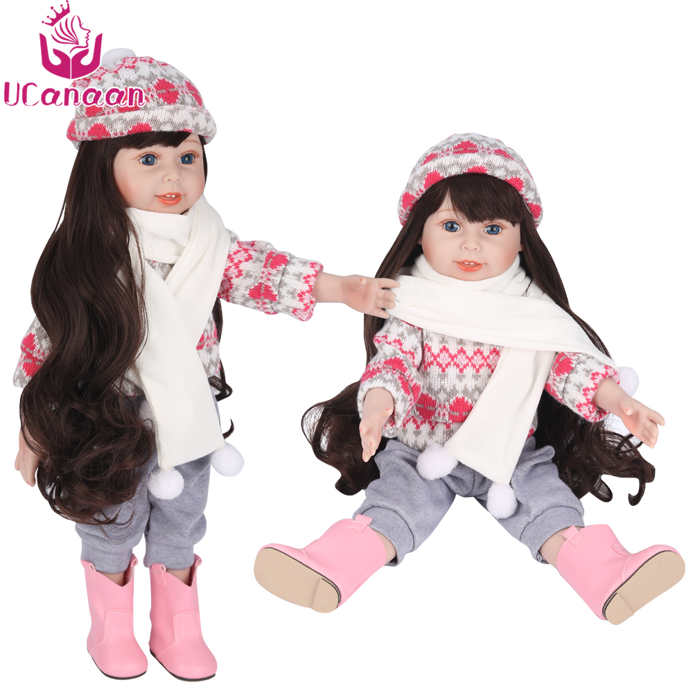 UCanaan American Girl Dolls Reborn 18''/45CM Silicone Baby Toys For Girls Baby Alive Long Hair Princess Doll Chirstmas Gift 18 inch american girl doll long hair pink dress vinyl real girl bonecas baby alive dolls for girls christmas gift
