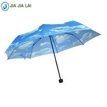 Фотография Rain Gear Non-automatic Three Folding Umbrellas Blue sky and white clouds Umbrella Women Fashion