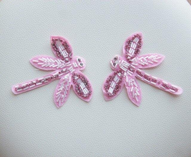 Pcs grande taille perlée diamant rose libellule haute qualité