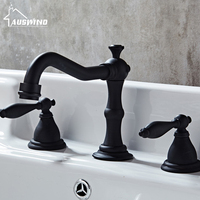 European Antique Kitchen Faucets Brass Electroplate Basin Faucet Double Handle Three Hole Mixer Taps Hot Cold