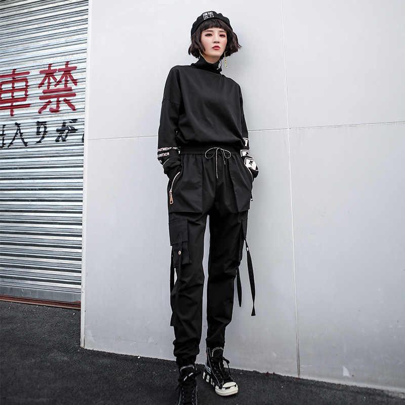 Мешковатые брюки черный 2019 Новый Плюс Размер Брюки карго толстые комбинезоны карманы, набедренный хоп женские свободные ленты повседневные брюки LT479S50