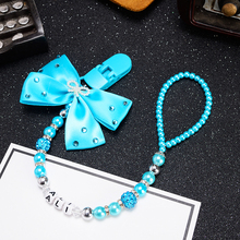 MIYOCAR custom Any name Bling blue rhinestone bow blueand beads dummy clip holder pacifier clips holder/Teethers