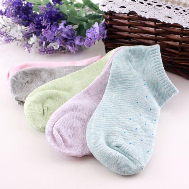 s03 women hot sale pure cotton socks womens fresh polka dot socks candy colors cotton ankle