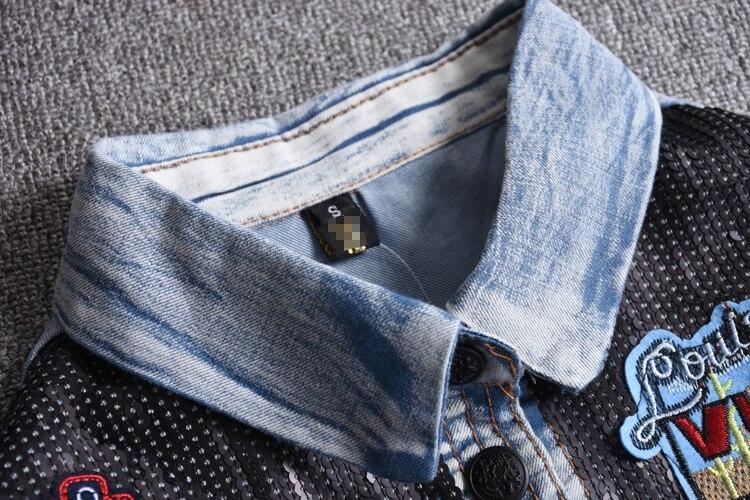 Dei Ricamo Qualità Ns630 Paillettes Del Bicchierino Alta Denim Donne Vestiti Cotone Manicotto Di Estate Delle Jeans Camicette Morbido Lungo Camicetta Ygyvbf67