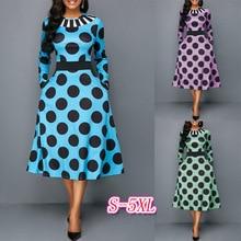 Vintage Style Elegant Black Dot A-line Dress. Sexy High Waist Round Neck Long Sleeve 2019 Summer Dress Ladies