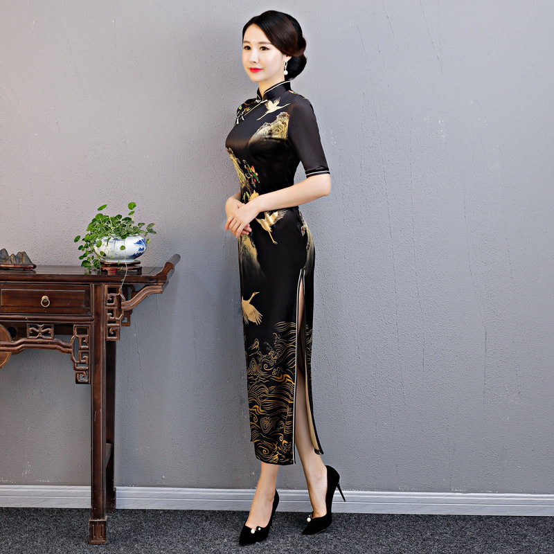 2018 Lady Velvet Qipao black Vintage Print Floral Chinese wedding National Formal Dress Female Long Cheongsam Plus Size XXXXL