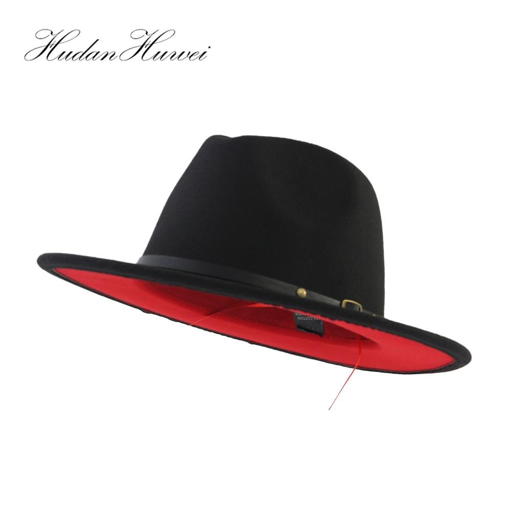 Large Size 60 CM Black Red Patchwork Plain Wool Felt Jazz Fedora Hats Men Women Wide Brim Panama Style Trilby Cowboy Hat Cap