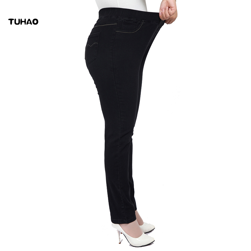 TUHAO 2018 Spring High Waist Denim Pants Jeans For Women Large Size 8XL 7XL 6XL 5XL Office Lady Jean Vintage Plus Size Pant YH12