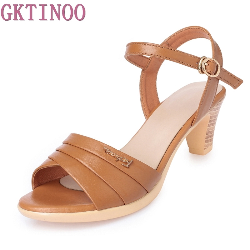 GKTINOO Summer Women's Sandals Genuine Leather Fish Mouth Fashion High Heel Platform Open Toes Women Sandals Shoes Plus Size