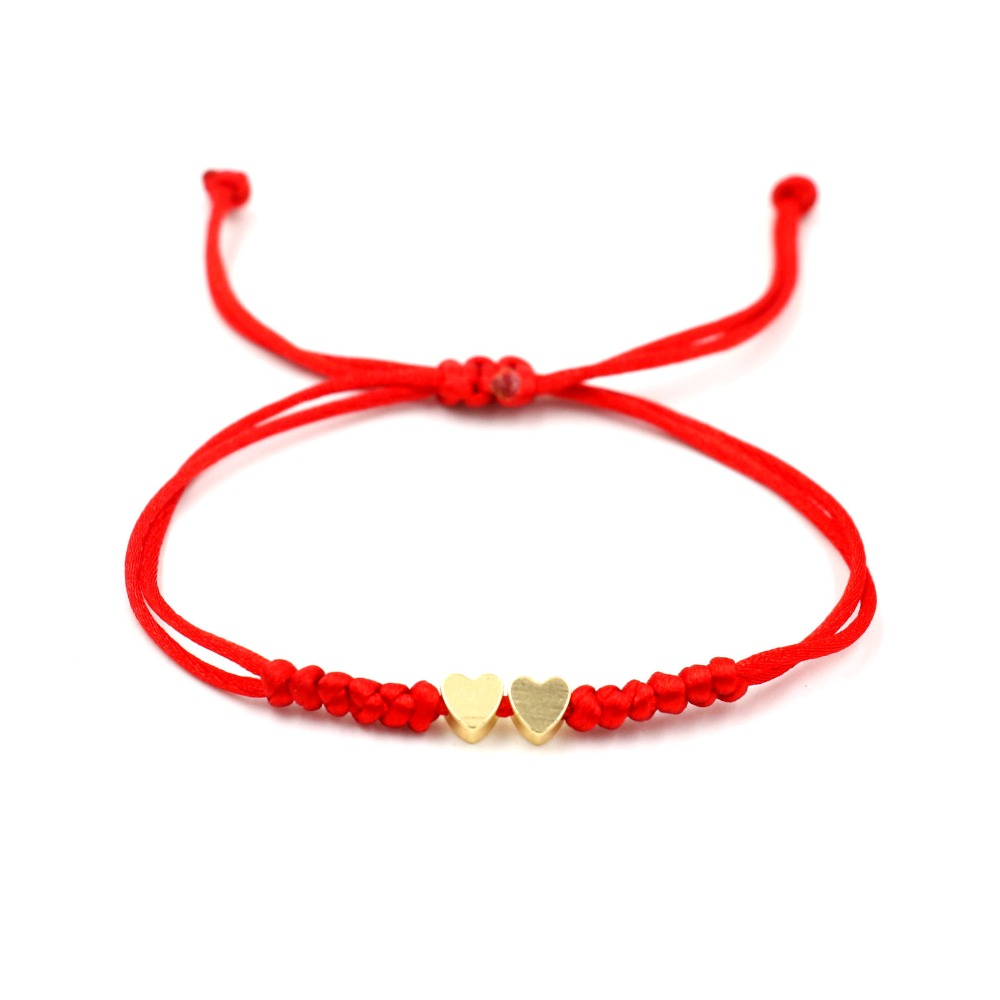 Gold Color 2 Heart Star Simple Red Thread String Bracelet For Women Men Handmade Thread Rope Girl Adjustable Jewelry