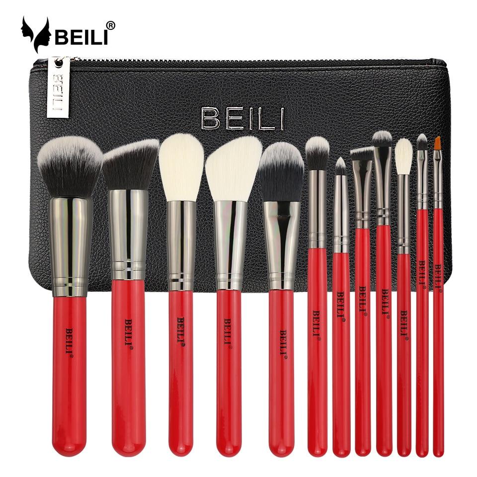 BEILI Rouge 12 pcs Professionnel Naturel Cheveux Fondation Blush Eye BlendingEyebrow Eyeliner Poudre Maquillage Pinceaux avec sac