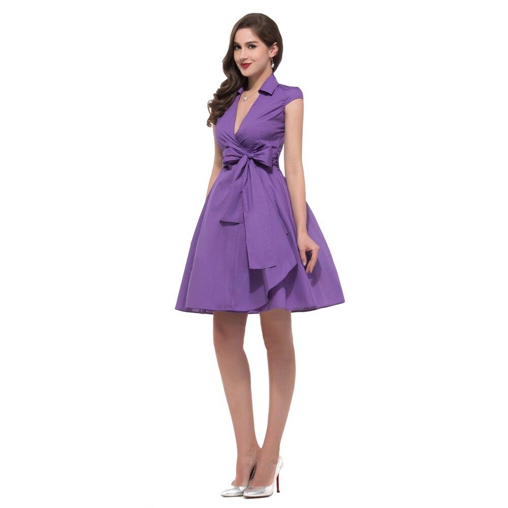 Vintage del verano, cap manga Vestidos mujeres negro violeta blanco ...