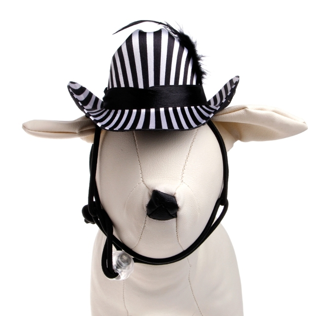 Pet Hat Cowboy Striped With Feather Dog Cat Puppy Kitty Cap Sunbonnet Outdoor Warm's house #X109Q#