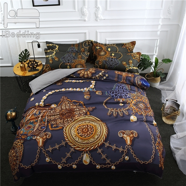 3Pcs/Set Luxury Printed Duvet Cover Set 3D Bedding Sets Queen King Twin Size Bed sheet