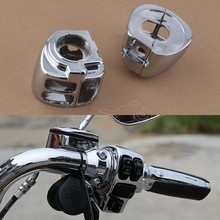 цена на 2pcs Chrome Aluminum Motorcycle Handlebar Switch Housing Cover For Harley Dyna Sportsters Softail V-Rod Touring 2009-Later